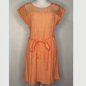 Sweet Wanderer Eyelet Lace Belt Crepe Lined Dress